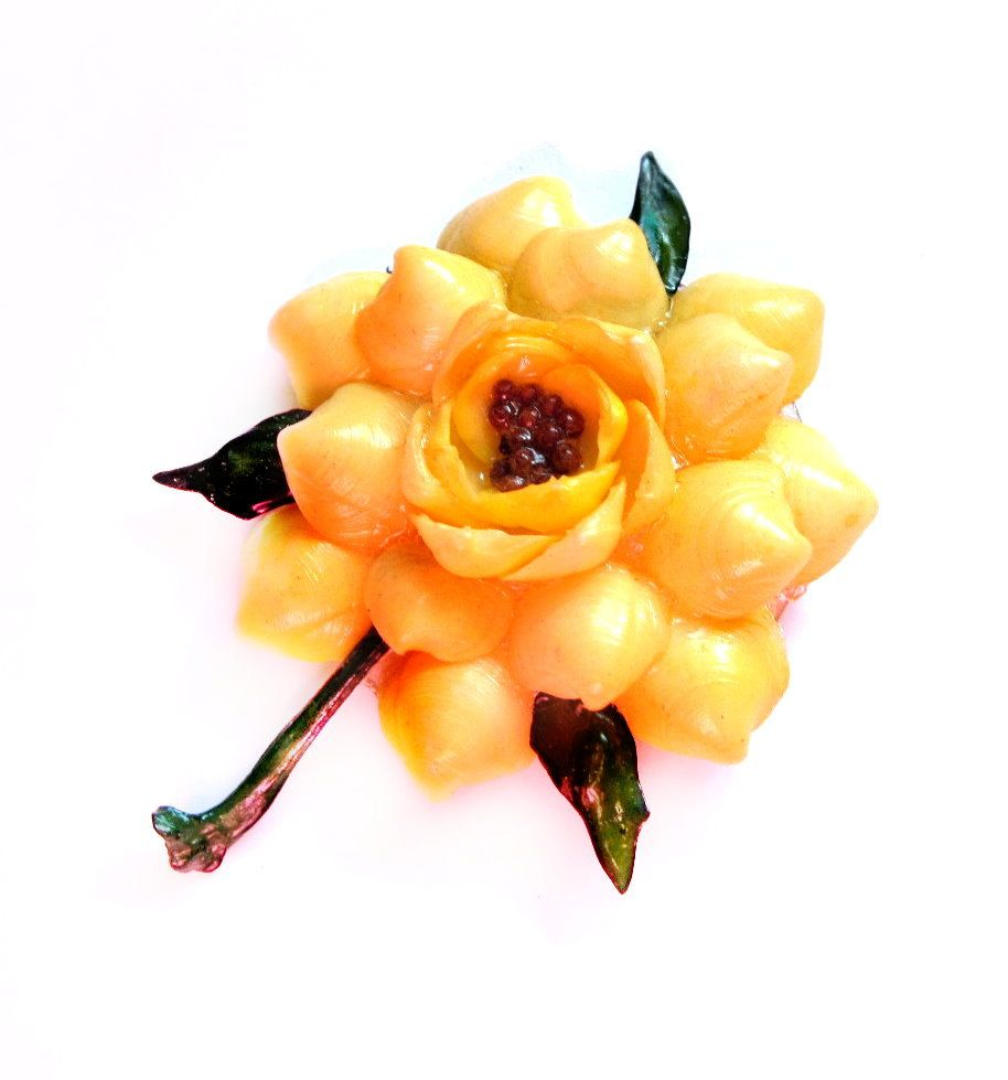 Folk Art Shell Brooch Yellow Flower Pin Oh Just Stick It Pins