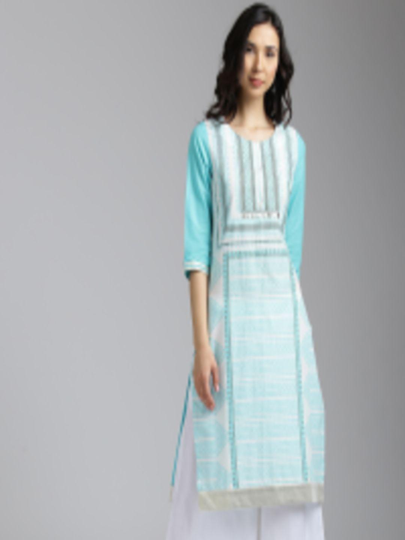 2453c82b051 Buy W Women White   Blue Printed Straight Kurta - Kurtas for Women 2402965