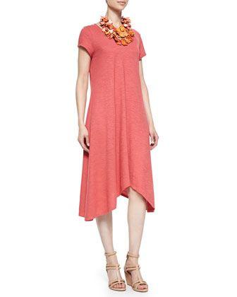 Short-Sleeve Handkerchief Jersey Dress by Eileen Fisher at Neiman Marcus.