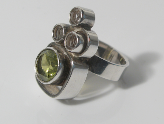 Ring | Elis Kauppi for Kupittaan Kulta Oy.  Sterling Silver Rock Crystal & Citrine.  Finland c.1960