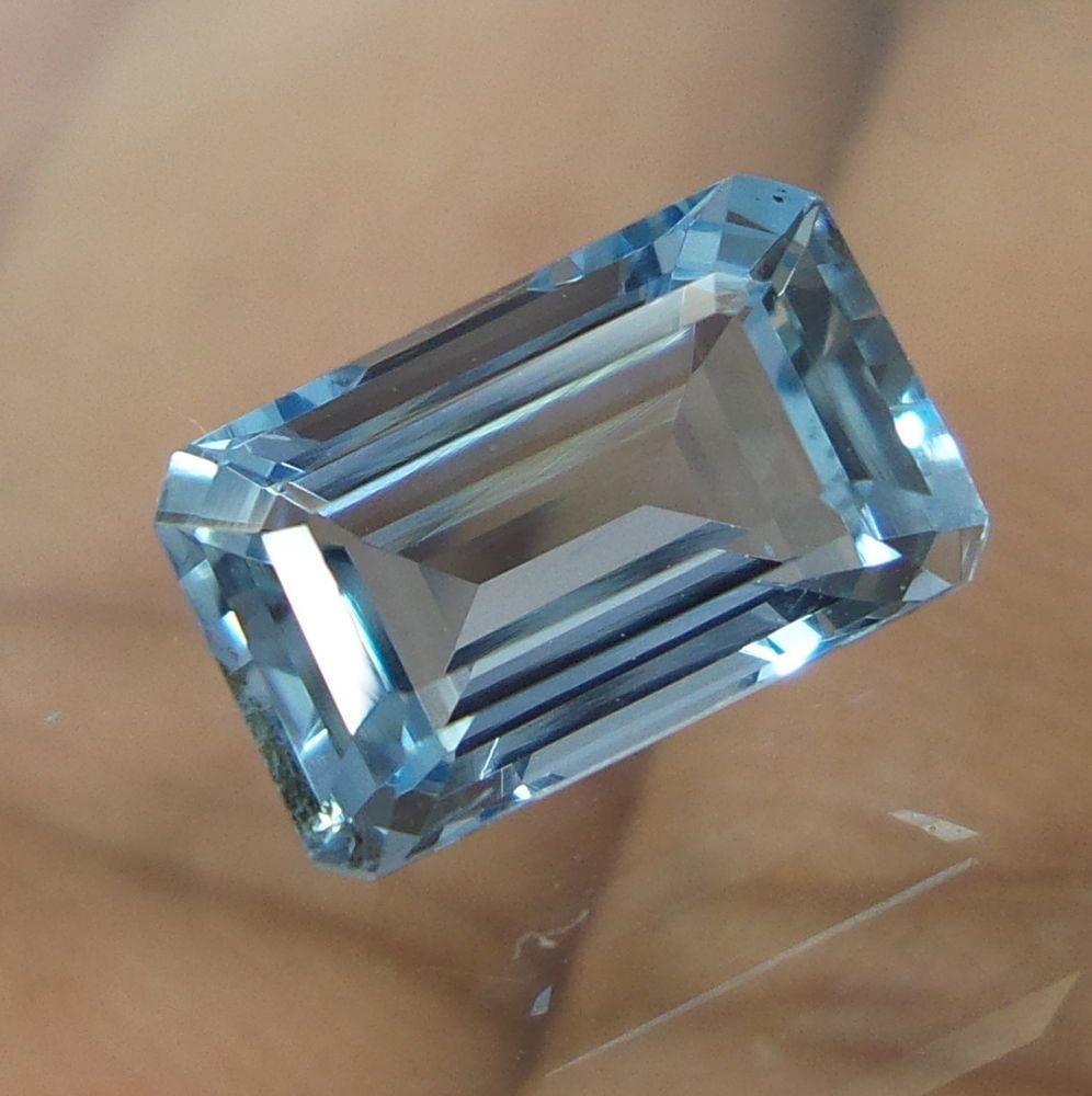 2 Carat 9.7x6.1 mm Faceted AAA Luster Blue Aquamarine Octagon Natural Gemstone #AquamarineTraders