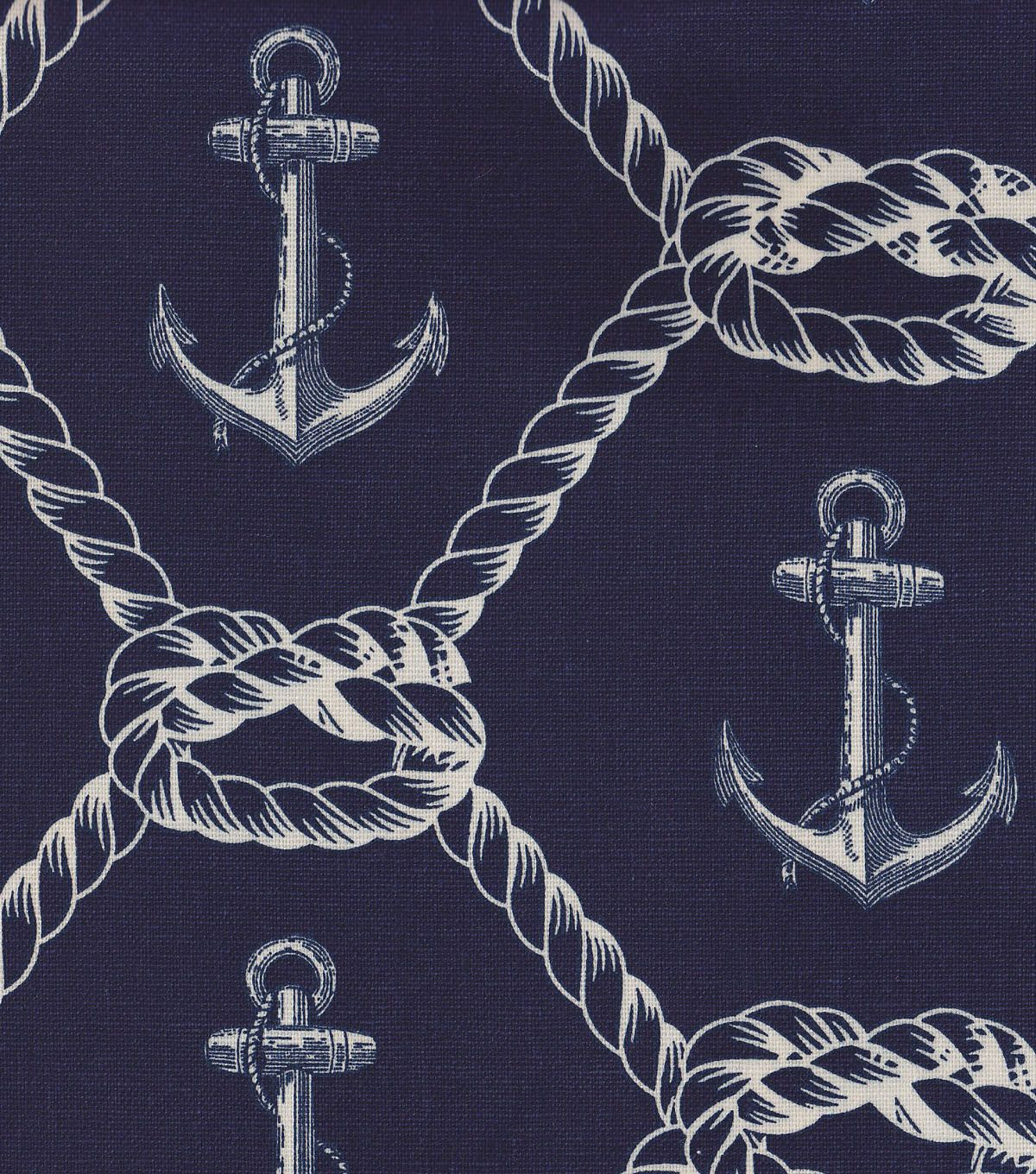 Nautical Fabric Anchors Rope Home Decor Fabric Decor