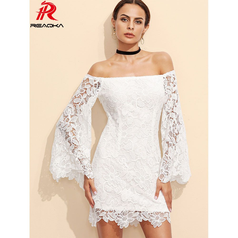 Rekka sexy women white lace dress summer woman party dresses long