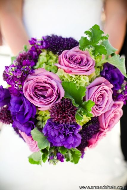 Wedding Profile: Purple and Green Romantic Wedding | Bridal bouquets ...
