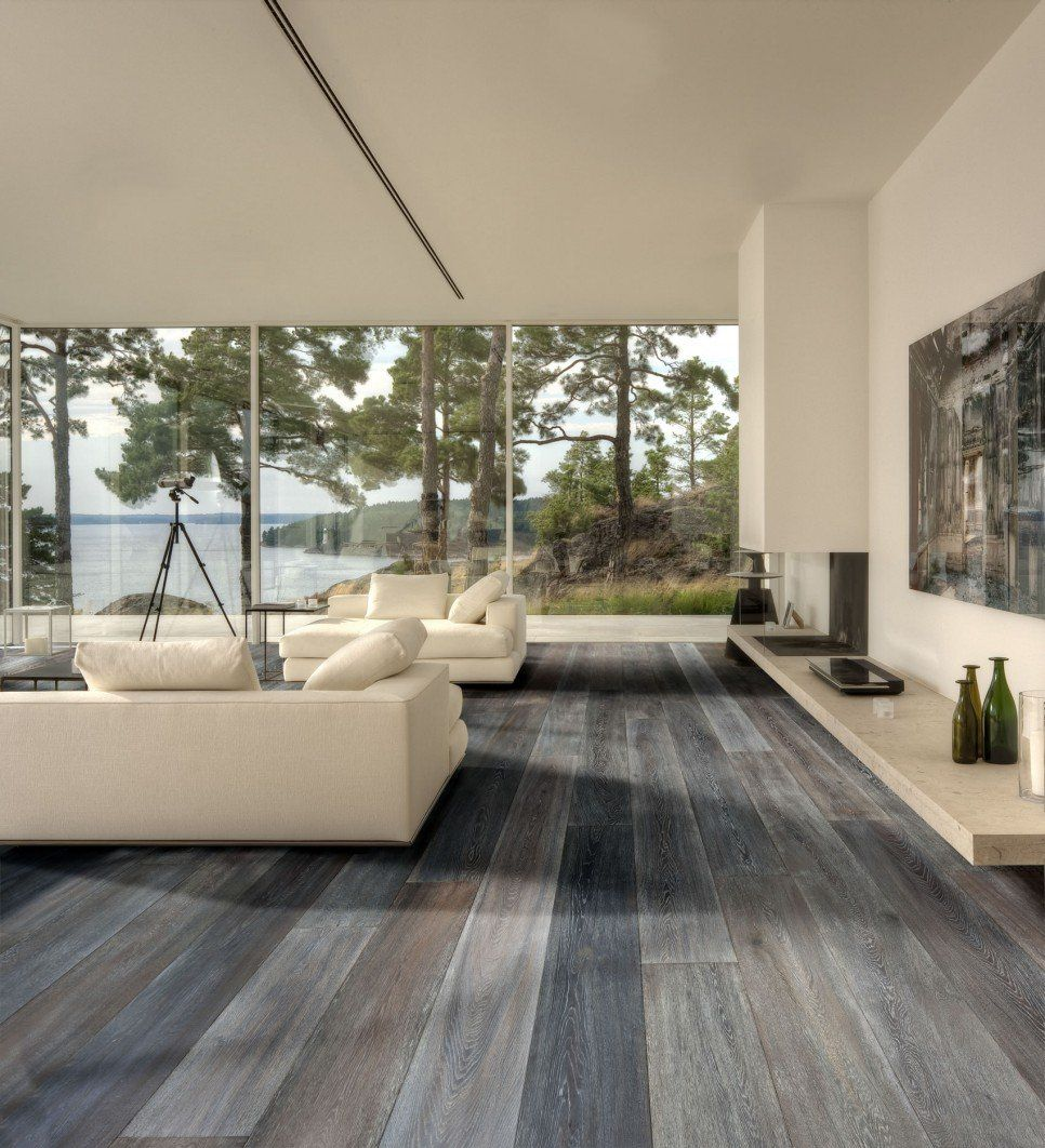 Interior Large Modern Living Room Lake House Design With Gray