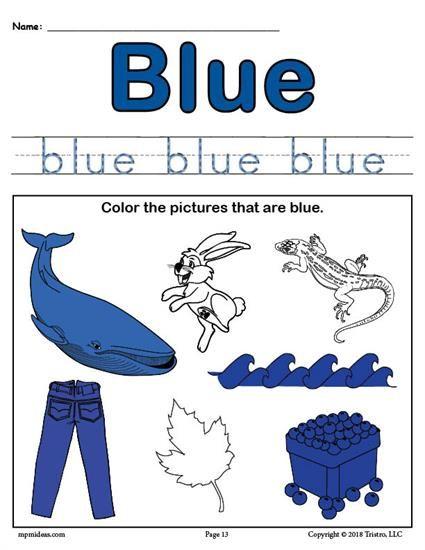 FREE Color Blue Worksheet Worksheets
