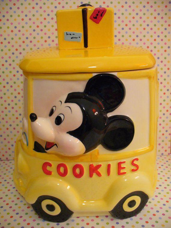Disney Cookie Jar Etsy >> Vintage Mickey Mouse Yellow Car Cookie Jar Mint Walt Disney