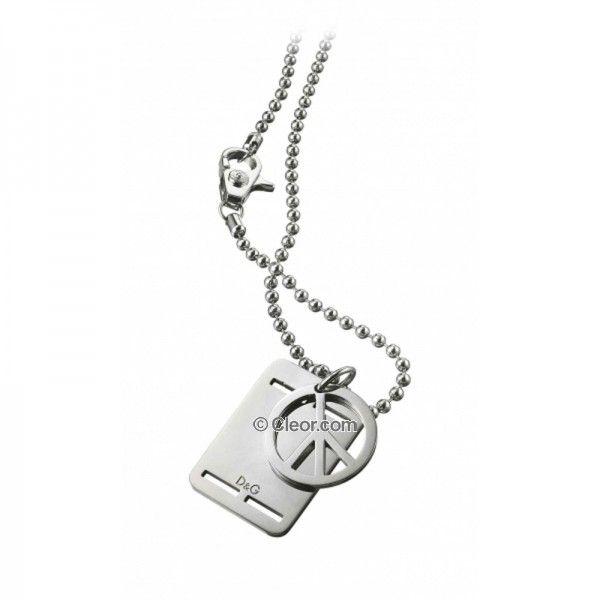 Bijoux - Colliers - Collier DG acier pendentif doublé avec une plaque - DJ0739