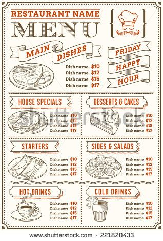 A Full Vector Template Menu For Restaurant And Snack Bars With Nice Food Ilrations File Is Organized Layers Ease Of Use