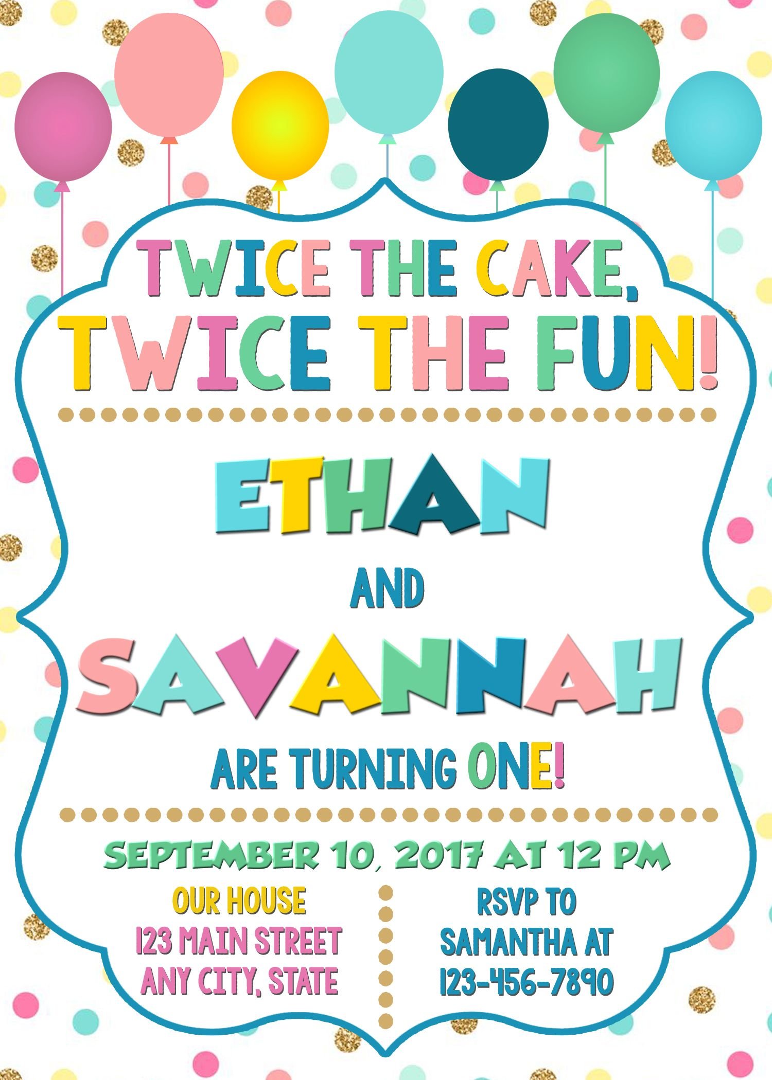 Joint combined birthday party invitation twins birthday invitation joint combined birthday party invitation twins birthday invitation siblings party twice the fun stopboris Image collections