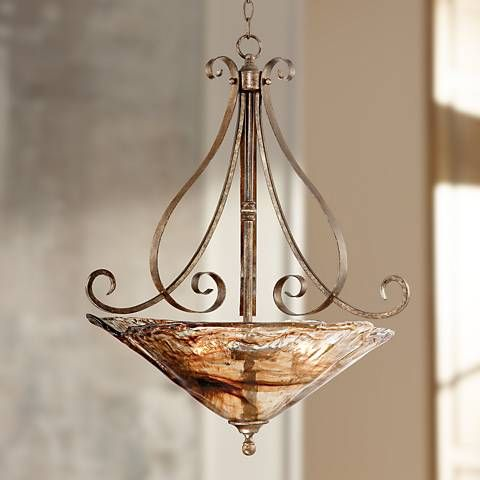 Franklin Iron Works Amber Scroll 24 3 4 Wide Pendant Light