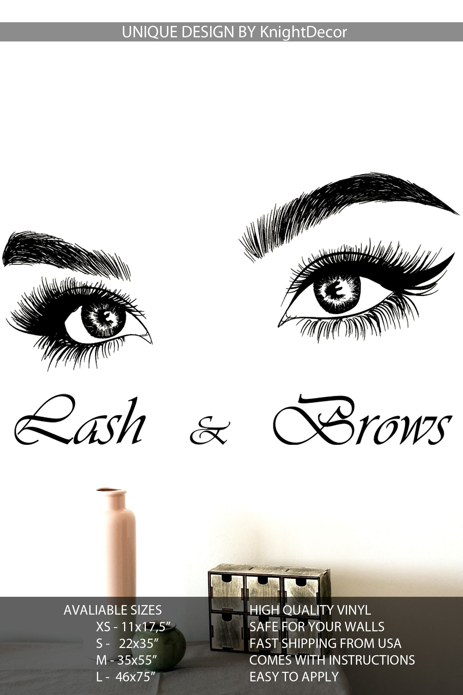 37b8b97b07c Eyelashes wall decal, Lashes, Brows, Beauty Salon, Eyebrows, Decal Sticker,