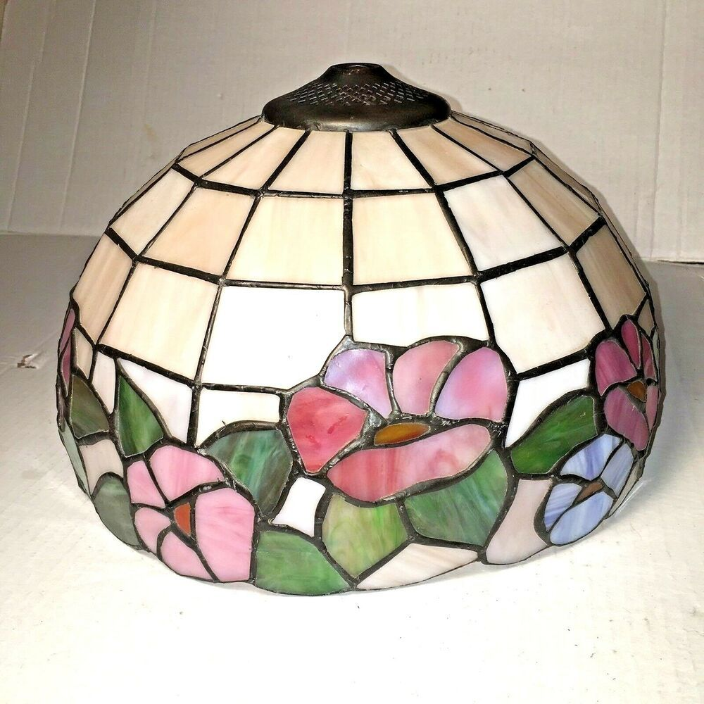 Vintage Dale Tiffany Signed Stained Glass Torchiere Lamp Shade Pink Floral Blue Tiffany Lamp Shades For Sale Lamp Shade Glass Lamp Shade