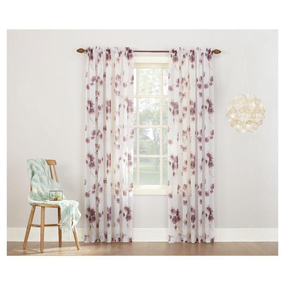 Carolyn sheer print voile curtain panel lavender purple