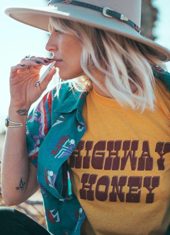 a3208626ebc Highway Honey Tee- Vintage tshirt- 70s- 80s- graphic tee- Womens tshirt-  made in usa- biker tshirt-