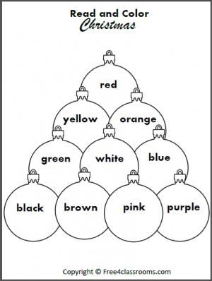 Free Read and Color the Christmas Ornaments. Students
