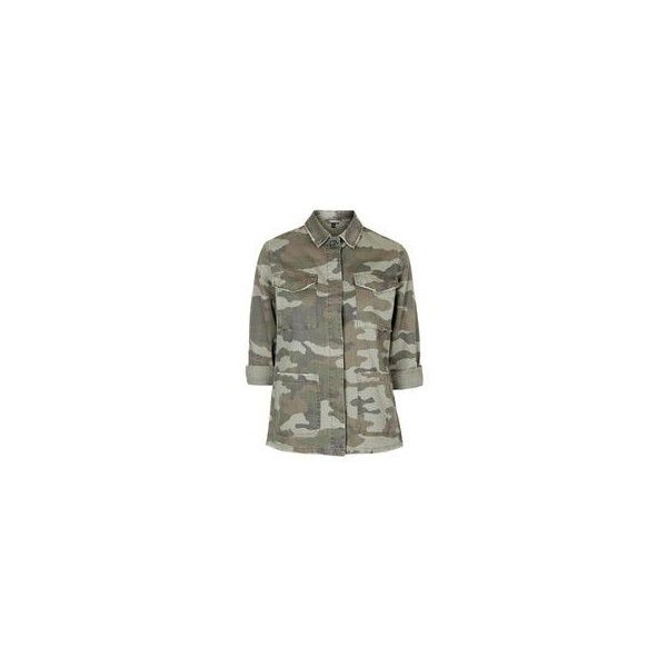 TopShop Petite Camouflage Print Shacket ($85) ❤ liked on Polyvore featuring shirt jacket and topshop