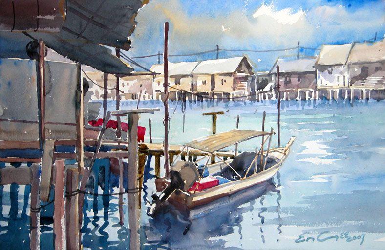 Khor Ean Ghee Artist - Malaysia Fishing Village Painting -8530