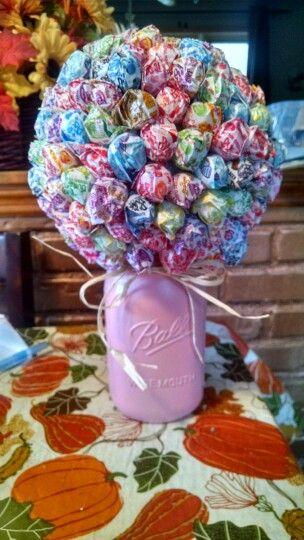 Lollipop Bouquet Made With A Styrofoam Ball Dum Dums And