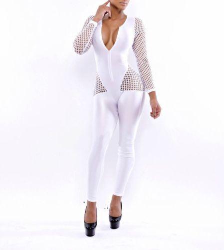 995464b6ef4 White-Fishnet-Inset-Long-Sleeves-Celeb-Inspired-Jumpsuit-Bodysuit-Bandage- Dress