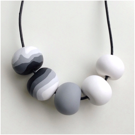 Long necklace black and white polymer clay