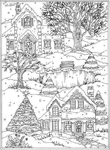 imagenes de invierno para colorear para niños | paisatges per a ...
