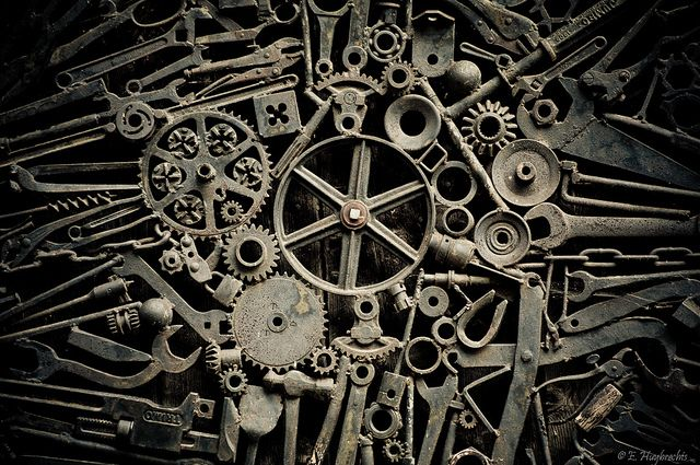 Old Cogs by Manu_H, via Flickr // really this image full of wrenches and gears and other tools is by E. Huybrechts but I haven't found any info about who that is or where this image was originally posted - pixypi