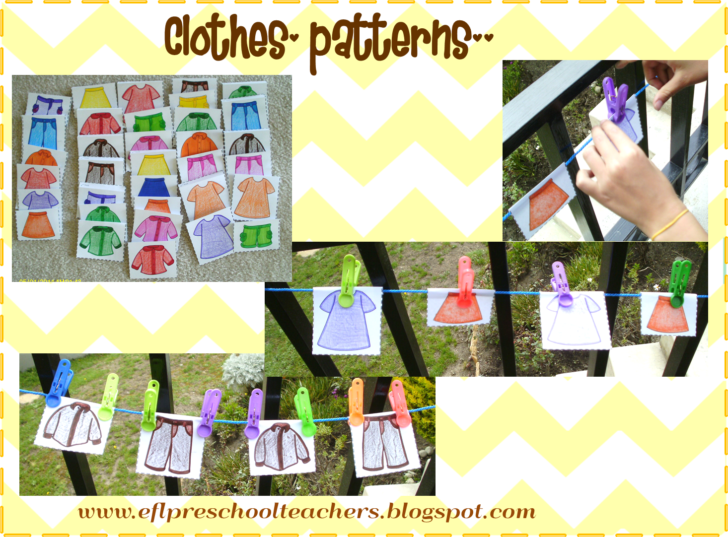 Esl Efl Preschool Teachers Clothes Theme Hang The Clothesline In Class Distribute The Coloring