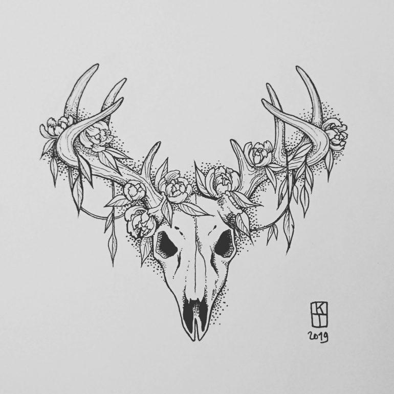 Deer Skull Tattoo In 2020 With Images Deer Skull Tattoos Skull Drawing Sketches Deer Skull Drawing