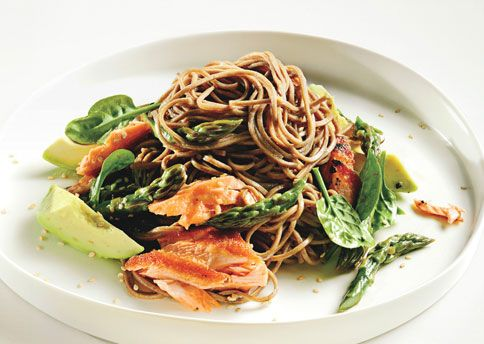 soba noodles, salmon, asparagus, avocado. The only thing I'd change is a dash of sesame oil rather than veg oil.