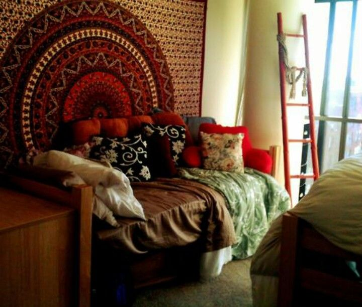 Hang Blanket On Wall dorm decor: hang a patterned blanket on wall behind bed | home