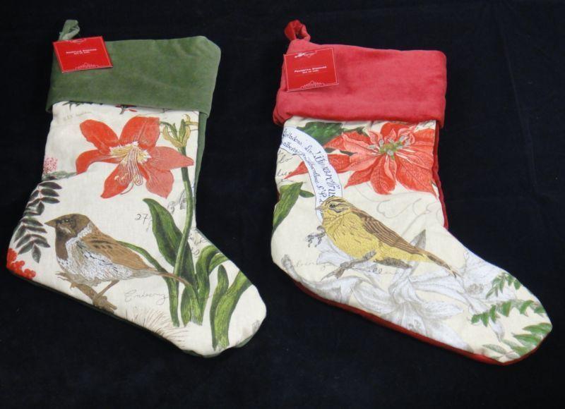 2 pottery barn bird decoupage christmas stockings new