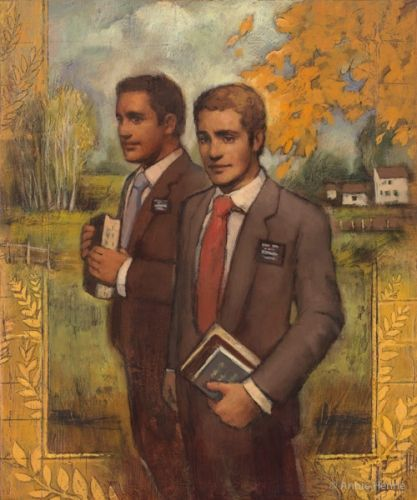 In His Hands by Annie Henrie Two Elders, scriptures in hand, ready to go to work!