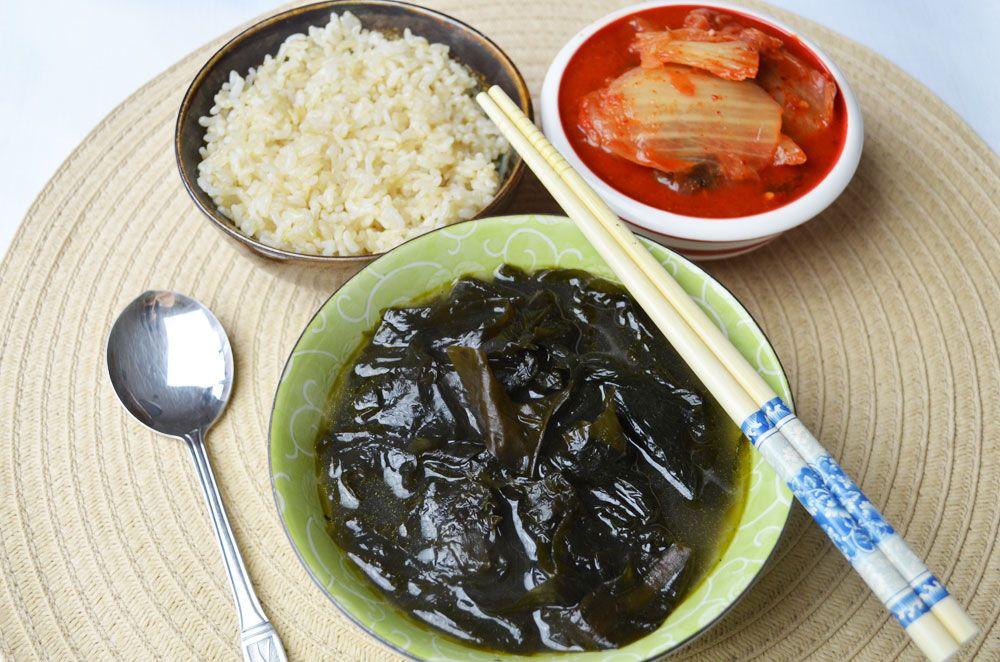 Brown rice seaweed kimchi for breakfast korean side