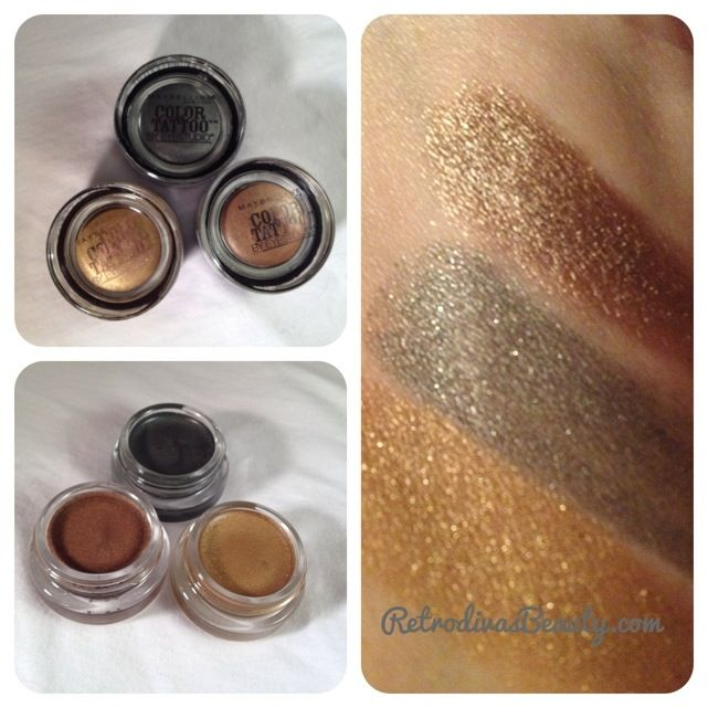 Maybelline Eye Studio Color Tattoo 24 Hour Cream Gel Eyeshadow in Bold Gold, Audacious Asphalt and Bad to the Bronze.
