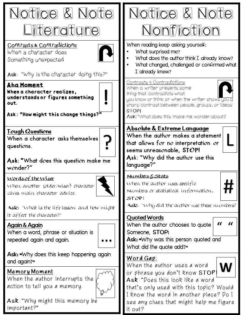 Notice And Note Bookmark For Signposts For Literature Informational Texts Middle School Reading Reading Classroom Teaching Literature [ 1056 x 816 Pixel ]