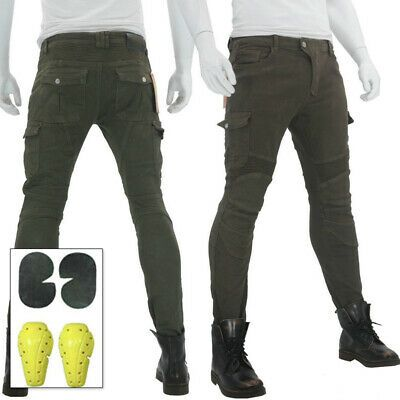 (eBay Advertisement) Mens Womens Motorbike Jeans Denim Biker Army Green Trousers…