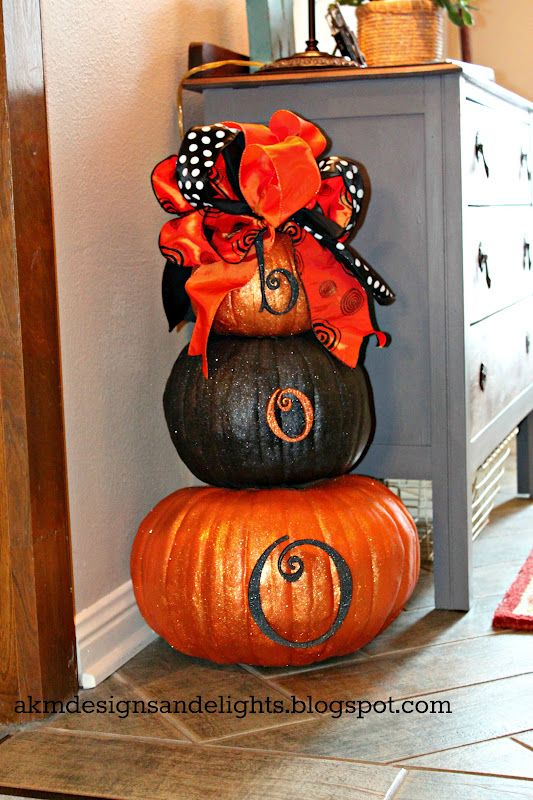 AKM designs and delights Halloween Glitter Pumpkin Topiary Fall