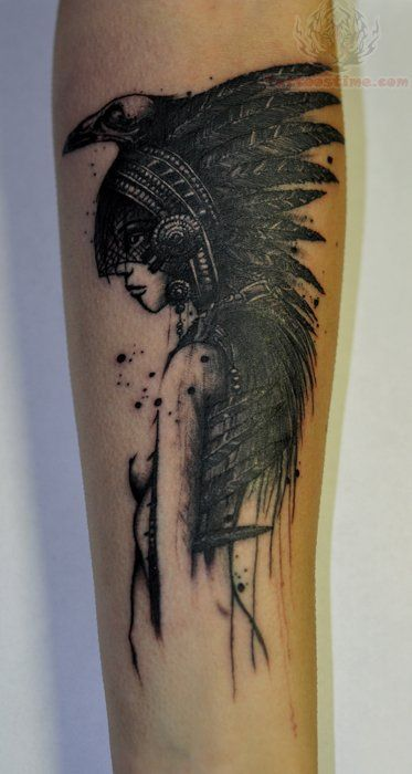 c837ab9c5 native american beautiful tattoos | Native Crow Tattoo On Arm...Absolutely  love this! For real going to. Placement in check