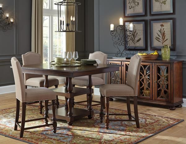 baxenburg brown square counter height dining room table w4 upholstered chairs
