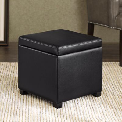 Madison Park Regency Heights® Maddox Small Cube Storage Ottoman in Black