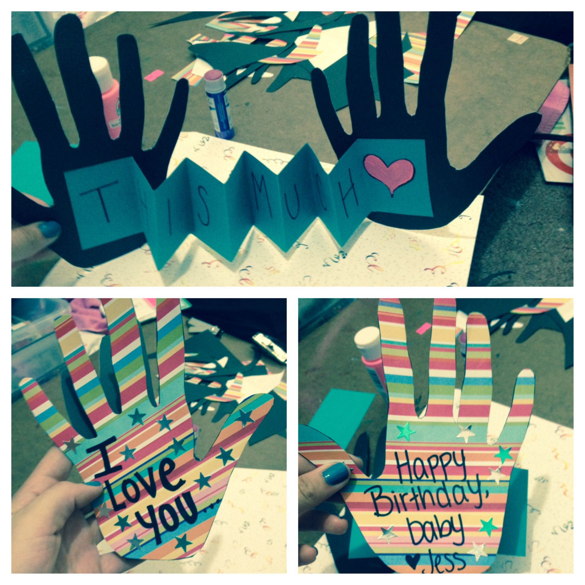 "Diy 18th Birthday Gifts For Boyfriend: ""I Love You This Much"" Birthday Card I Made For My"