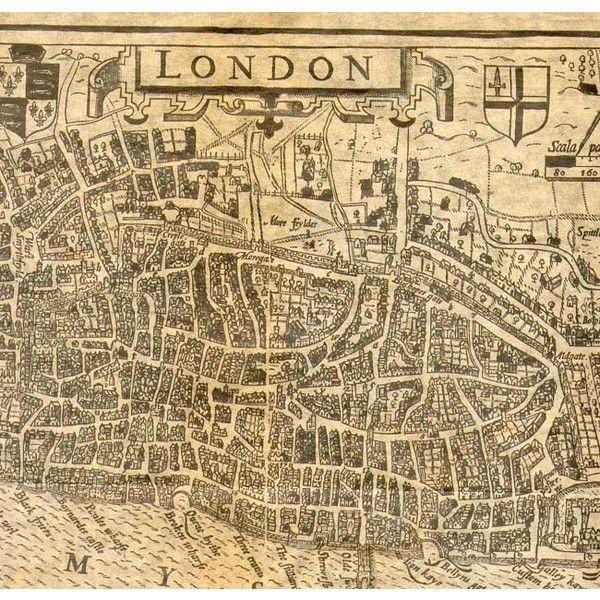 Old Map of Tudor London   Antique Maps of Tudor London ❤ liked on