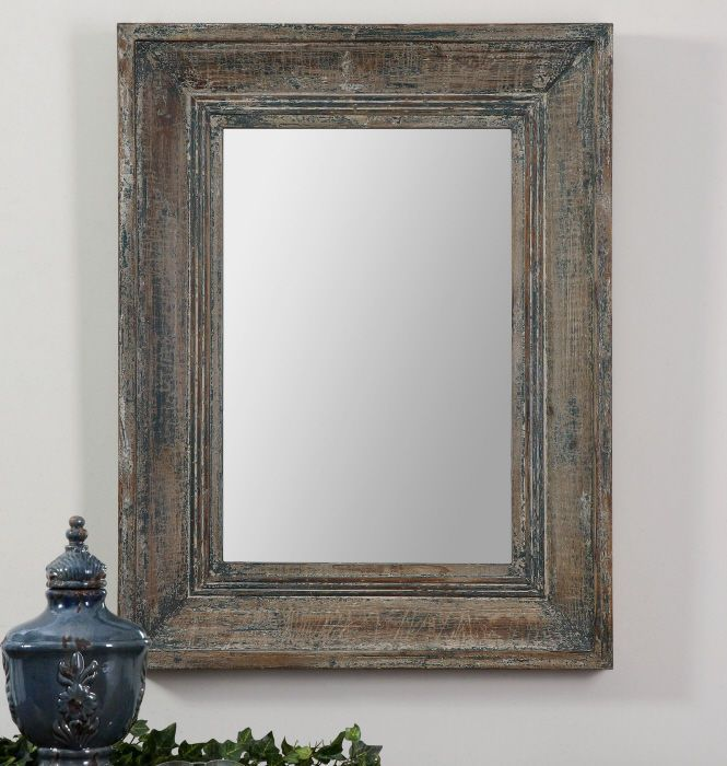 Framed Beveled Bathroom Mirrors blue green distressed wood frame beveled wall mirror large 35