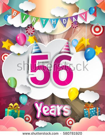 56th Birthday Celebration Greeting Card Design With Clouds And Balloons Vector Elements For The Party Of Fifty Six Years Anniversary
