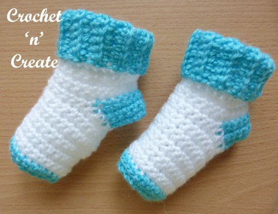 Easy Baby Socks Crochet Pattern Worked From The Cuff Downwards