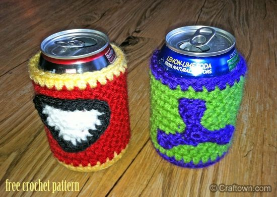 Free Crochet Pattern - Hulk Soda Cozy  Could adjust this for other stuff too
