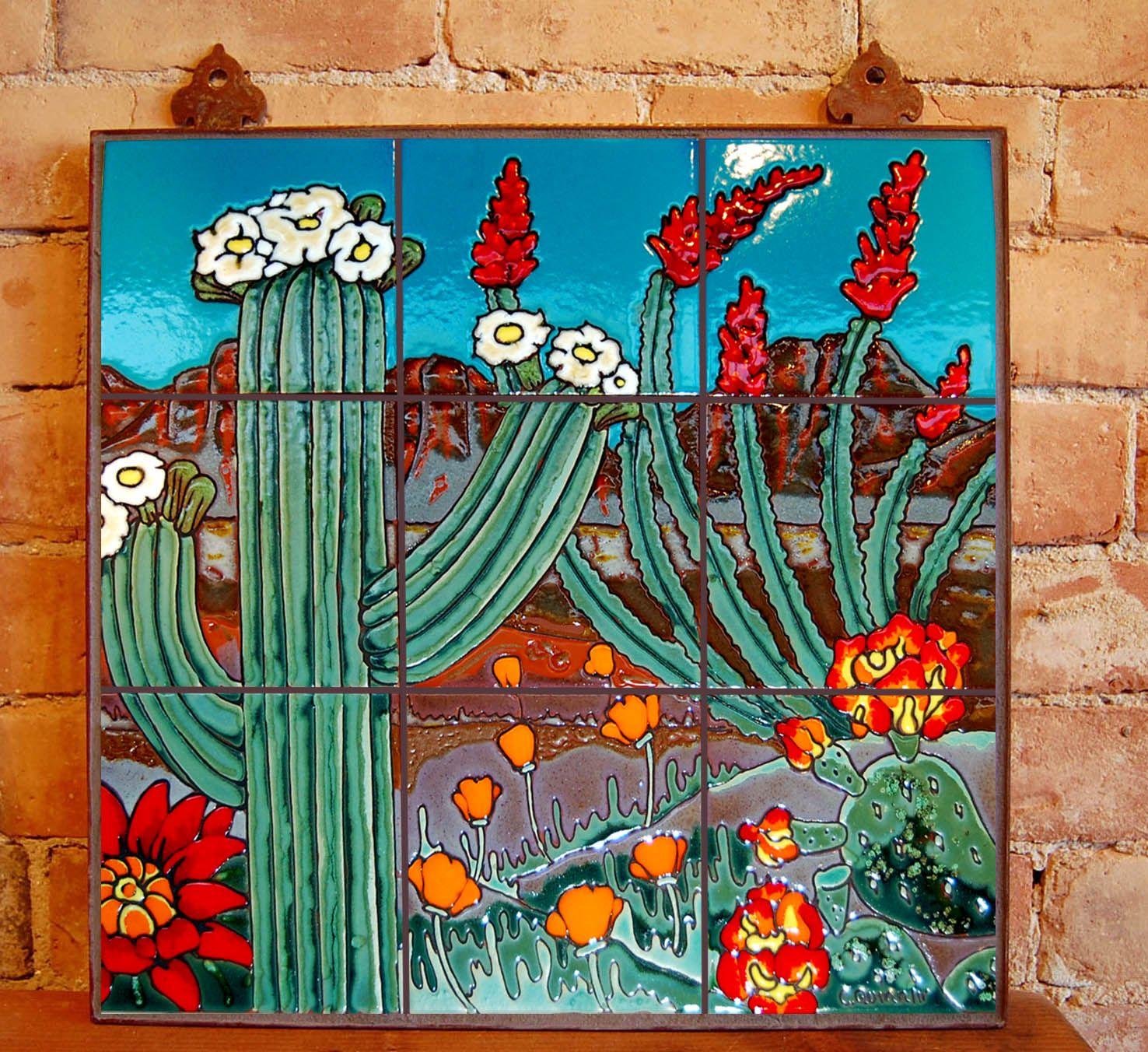 Saguaro Landscape Carly Quinn Tucson Az Desert Art Tile Murals Mural