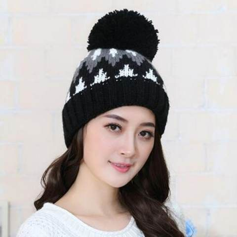 Casual geometric stocking cap with ball on top womens fleece knit hats for  winter 9ea4b9ae7bb