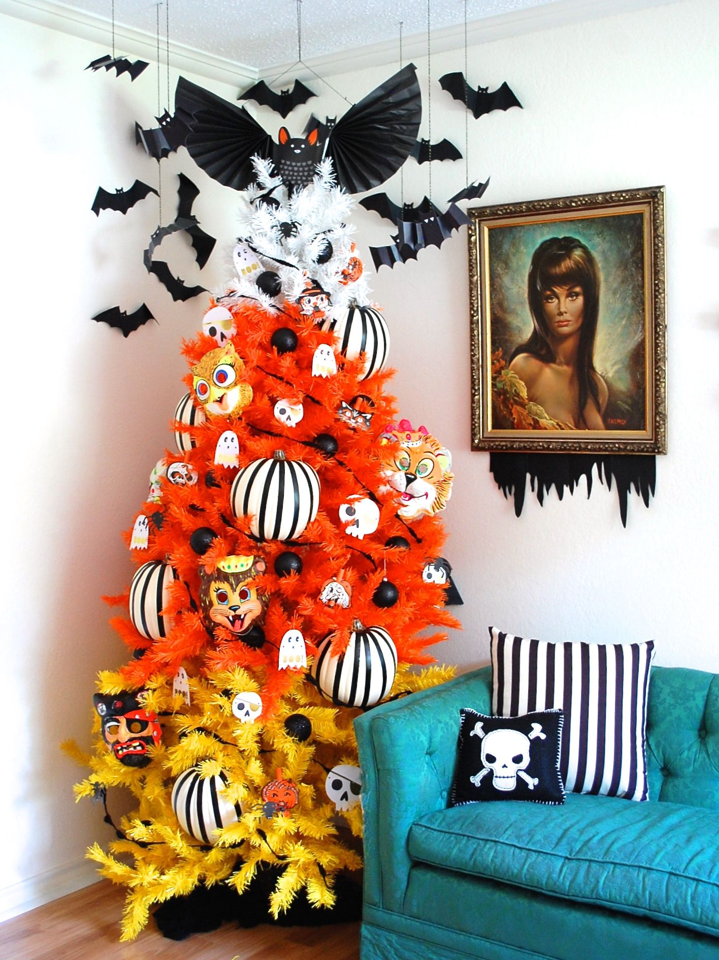 Bat and Candy Corn Covered Spooky Tree Candy corn, Halloween trees - Decorate For Halloween